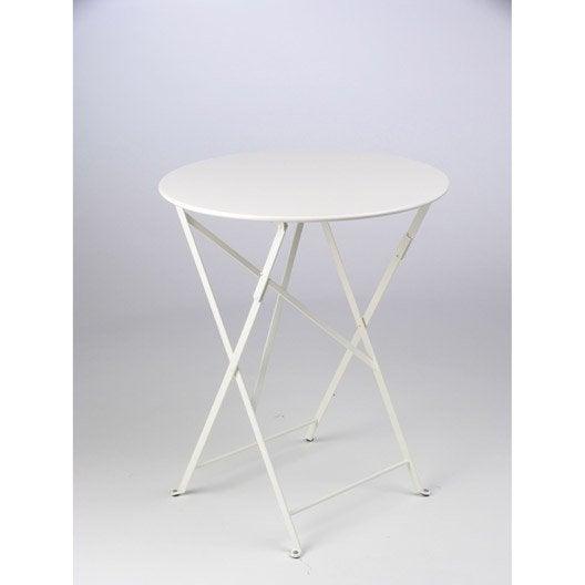 table de jardin fermob bistro ronde blanche 2 personnes. Black Bedroom Furniture Sets. Home Design Ideas