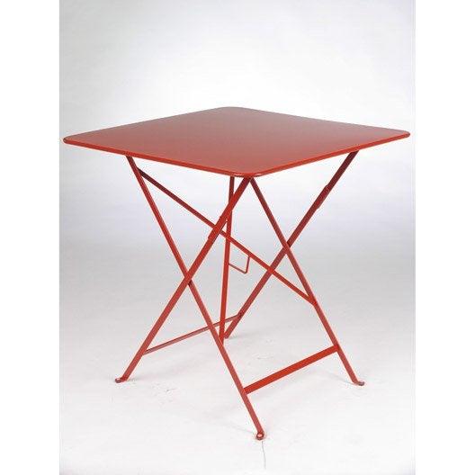 Table de jardin fermob bistro carr e coquelicot 2 - Table de jardin 2 personnes ...