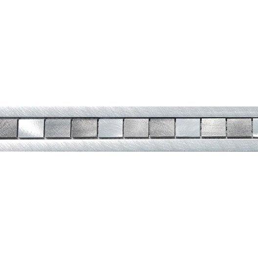 frise techno alu gris 6x60 cm leroy merlin