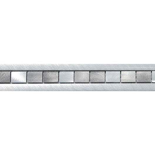 Frise techno alu gris l 6 x cm leroy merlin for Frise carrelage