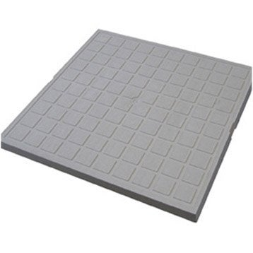 Tampon de sol polypropylène gris FIRST PLAST, L.40 x l.40 cm