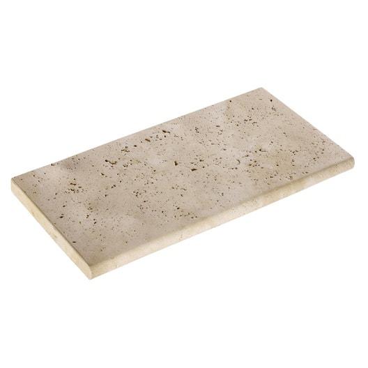 Margelle Kairouan en pierre reconstituée beige, L.60 x l.30 x Ep.3.5 ...