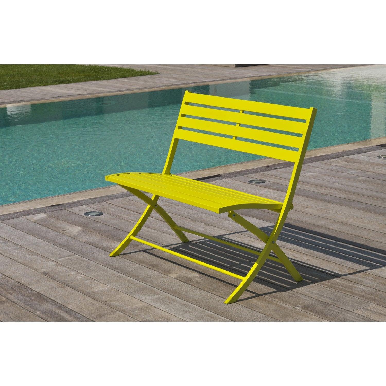 banc 2 places de jardin en aluminium marius jaune leroy merlin. Black Bedroom Furniture Sets. Home Design Ideas