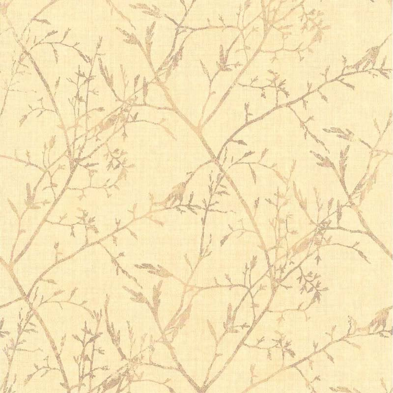 Papier Peint Vinyle Feuillage Jaune Clair Leroy Merlin