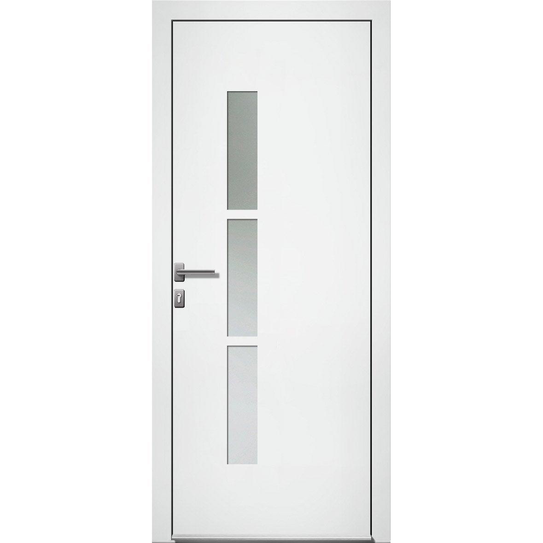 Porte D Entrée Alu Kezia 2 Premium H 215 X L 90 Cm Vitrée Blanc Pd