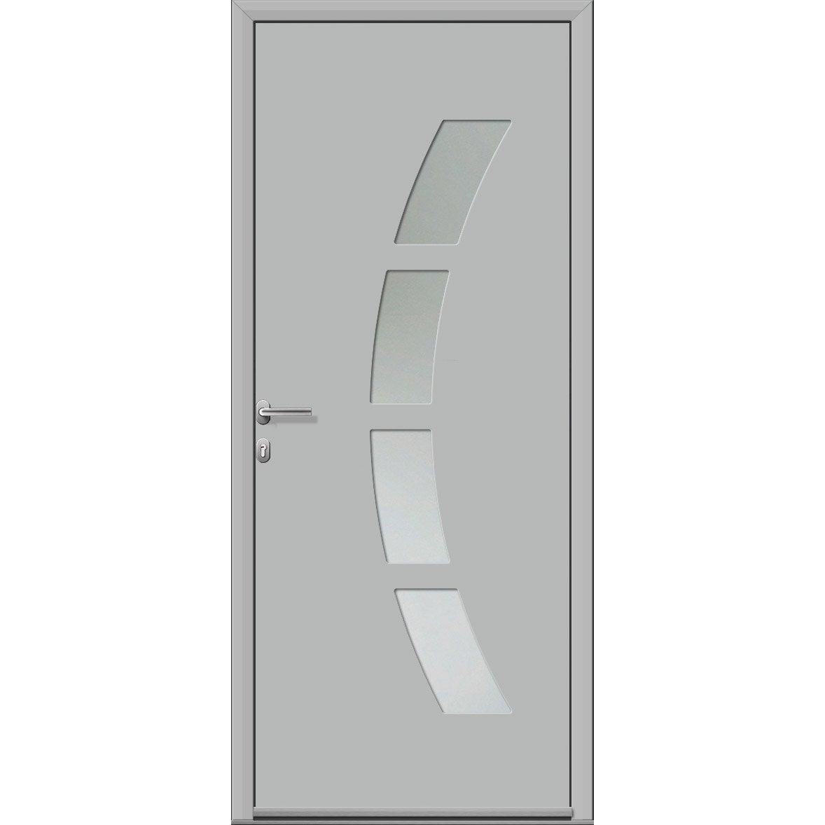 Porte D Entrée Alu Toledo 2 Premium H 215 X L 90 Cm Vitrée Gris Clair Pd
