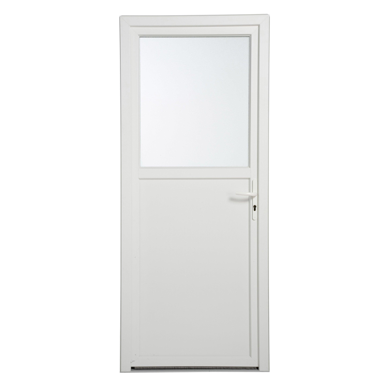 Comment Peindre Une Porte En Pvc porte de service pvc h.200 x l.80 cm vitrée blanc, poussant droit