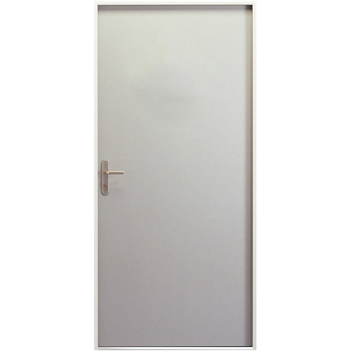 Porte de service Acier Servipac H.204 x l.83 cm pleine prépeint blanc, PD   Leroy Merlin