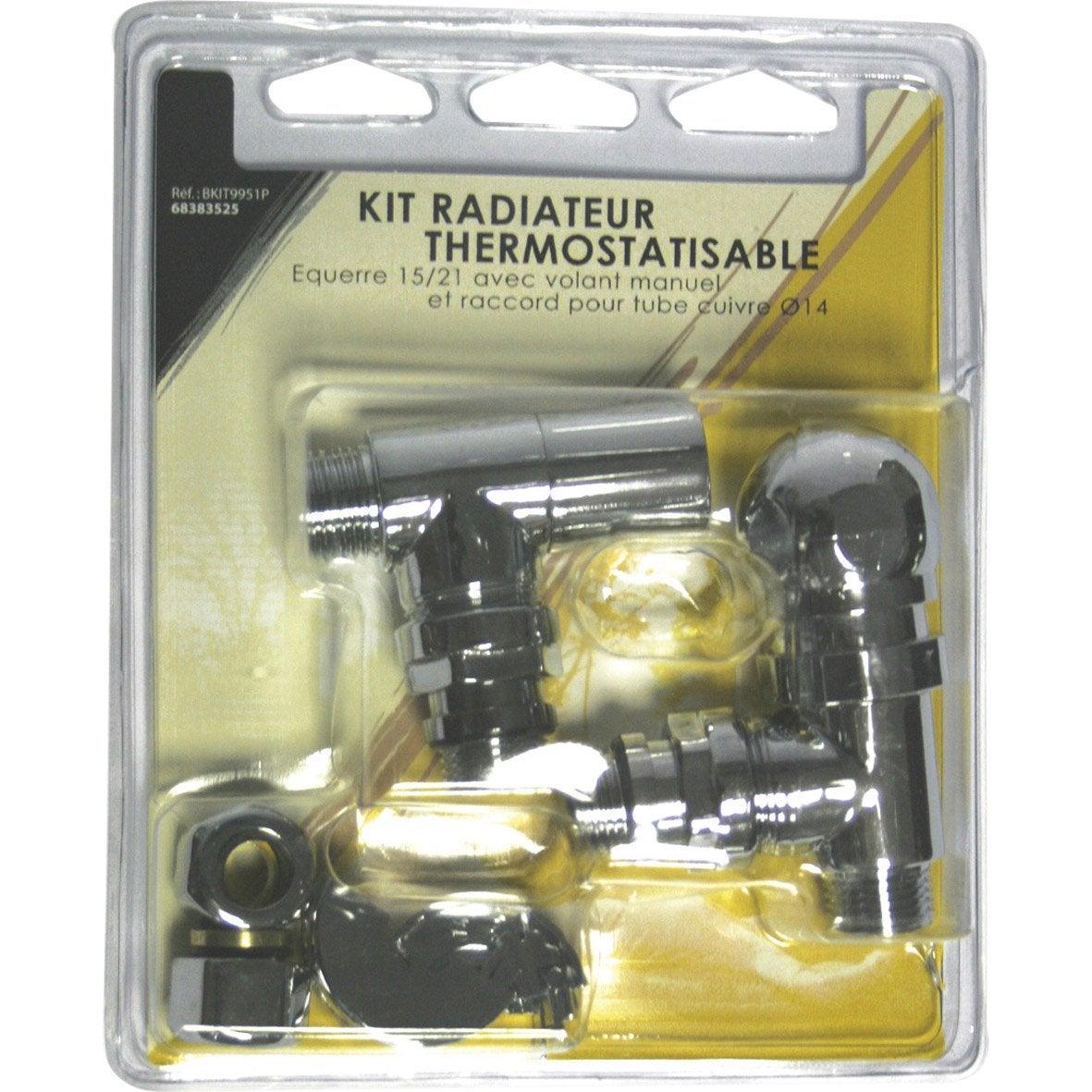 Kit Robinet Thermostatique Equerre 15 22 Male Femelle Laiton Chrome Ecopro