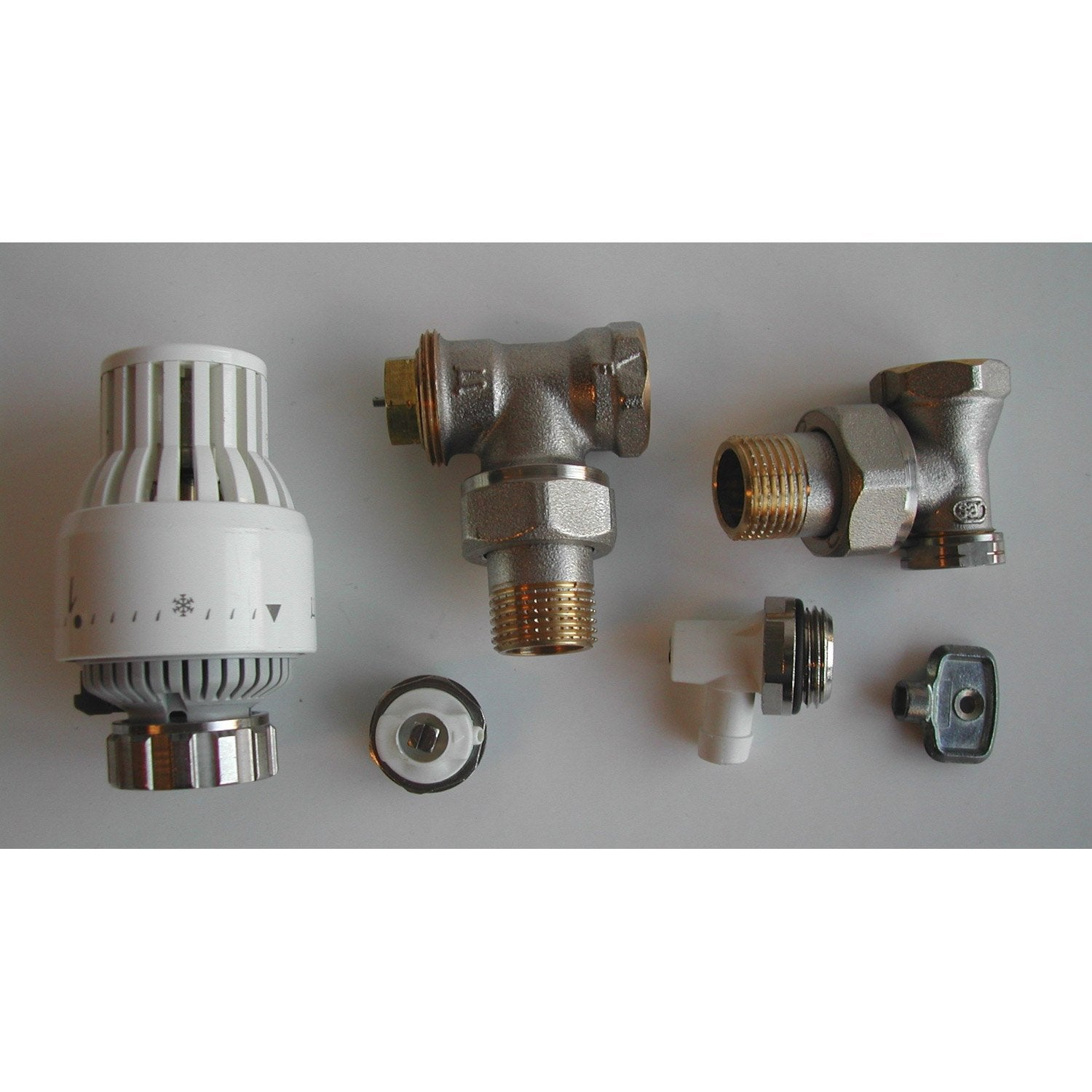 Kit Robinet Thermostatique Equerre 1 2 Male Femelle Laiton Blanc