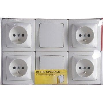 Lot de 2 interrupteurs et 4 prises avec terre saillie Asl, LEGRAND, blanc