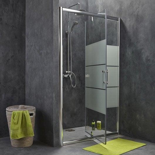 Porte de douche pivotante 96 5 122 cm profil chrom for Roulette de porte de douche leroy merlin