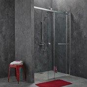 Porte de douche coulissante Fabrik verre transparent chromé 140 cm