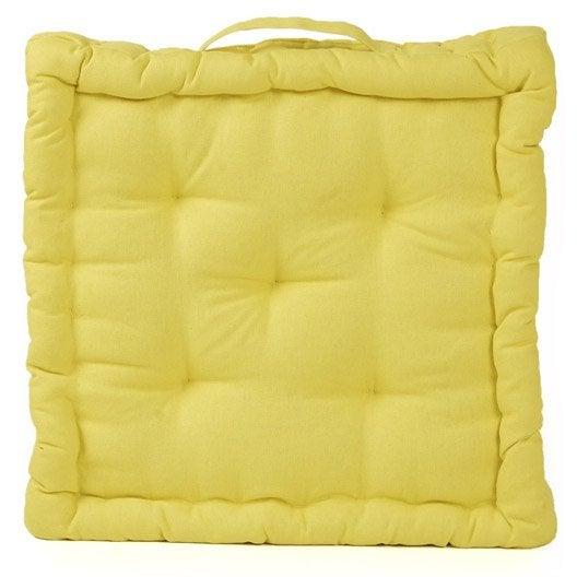 coussin de sol cl a inspire jaune anis n 5 x x cm leroy merlin. Black Bedroom Furniture Sets. Home Design Ideas