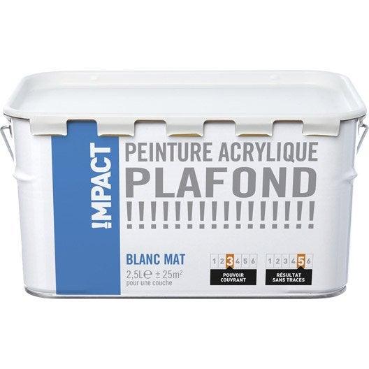 Peinture blanche plafond impact mat 2 5 l leroy merlin - Peinture blanche leroy merlin ...