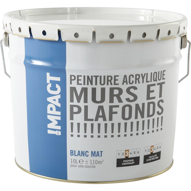 peinture blanche mur et plafond impact, mat 10 l | leroy merlin