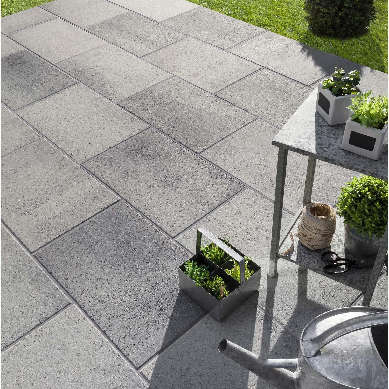 Dalle béton Dalle airial 60 x 40 x 5,0 cm gris granit traitée , gris ...