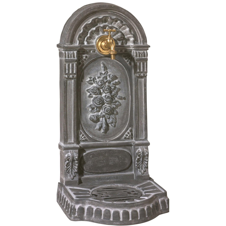 Fontaine de jardin en fonte gris roses leroy merlin - Fontaine decorative exterieure jardin ...