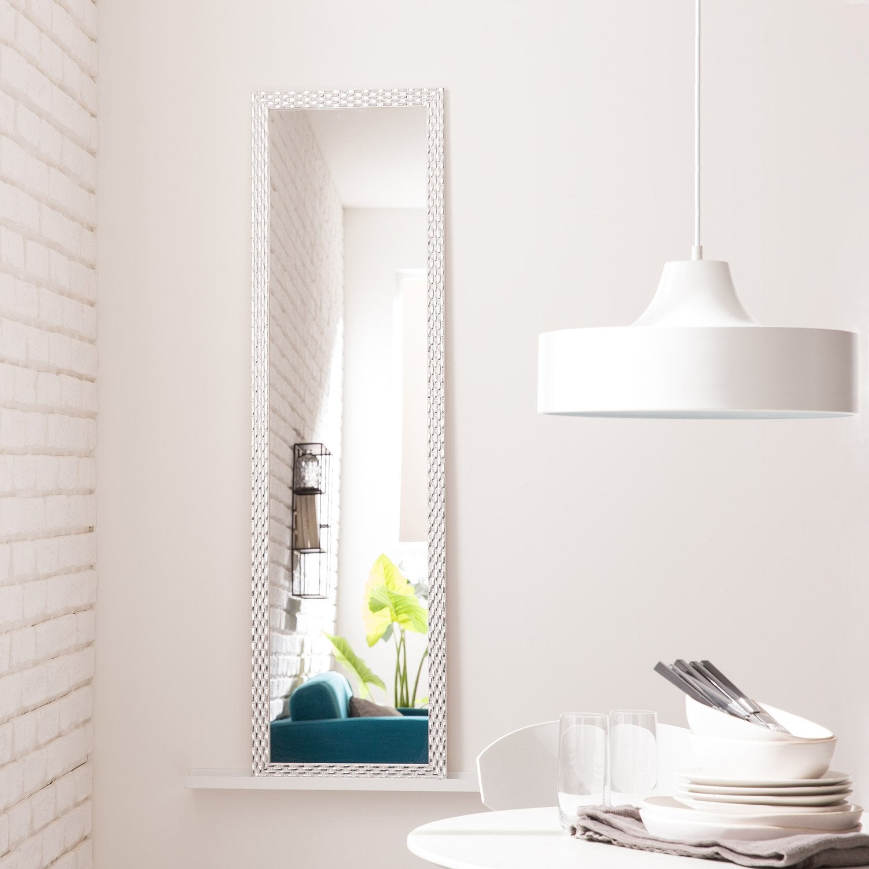 Miroir Diamant, blanc, l.30 x H.120 cm