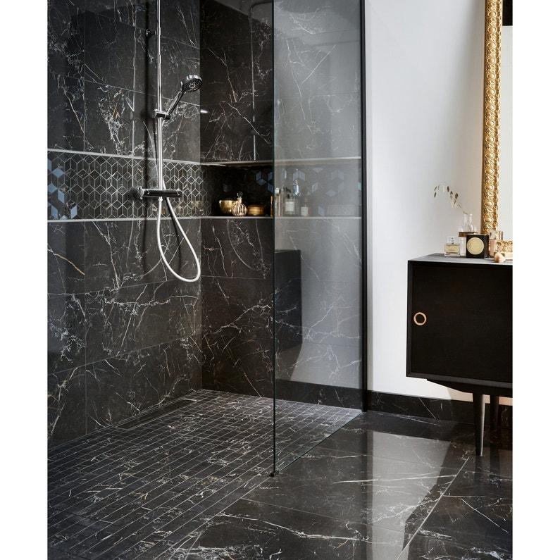 Carrelage Mur Marbre Noir Gold Brillante L 30 5 X L 91 5 Cm Murano Qualite Prem