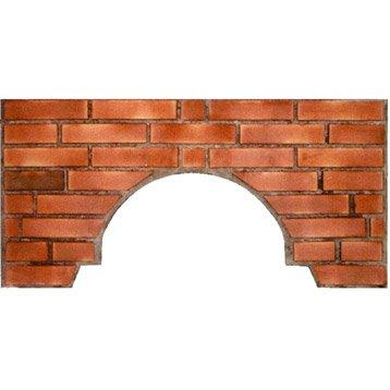 Façade en brique gris rosé et terre cuite, l.100 x L.5 x H.50 cm