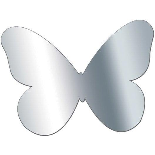 Miroir adh sif papillon 10 x 10 cm leroy merlin for Miroir 0 coller