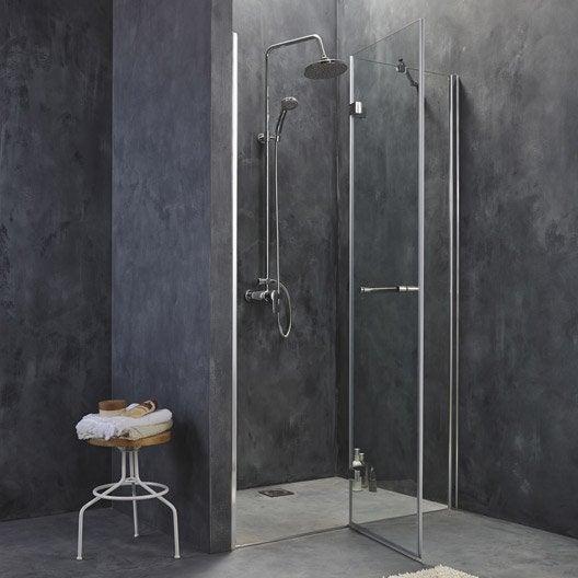 porte de douche pivotante 118 5 121 cm profil chrom open2 leroy merlin. Black Bedroom Furniture Sets. Home Design Ideas