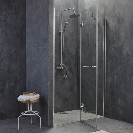 porte de douche pivotante 120 cm transparent open2. Black Bedroom Furniture Sets. Home Design Ideas