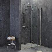 Porte de douche pivotante 118.5/121 cm profilé chromé, Open2