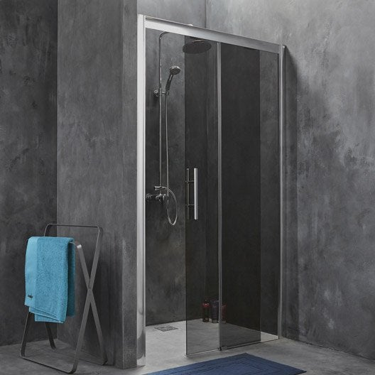 porte de douche coulissante breuer adena verre de s curit fum leroy merlin. Black Bedroom Furniture Sets. Home Design Ideas