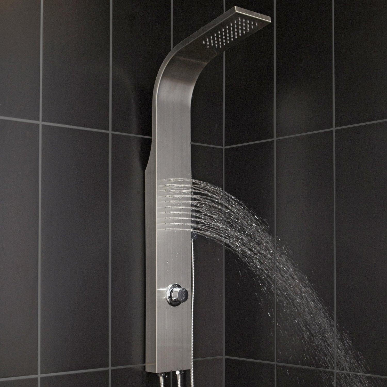 Colonne de douche et bain hydromassante sans robinetterie gris natu leroy merlin - Colonne bain douche ...
