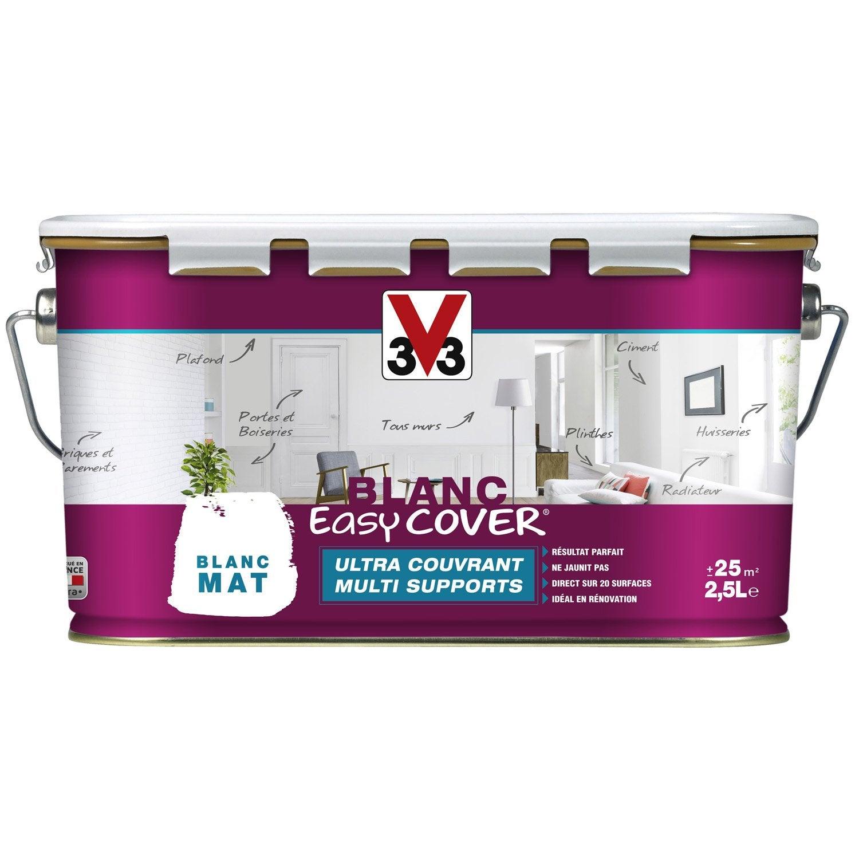 Peinture blanche mur, plafond et boiserie Easy cover V33, mat 2.5 l ...