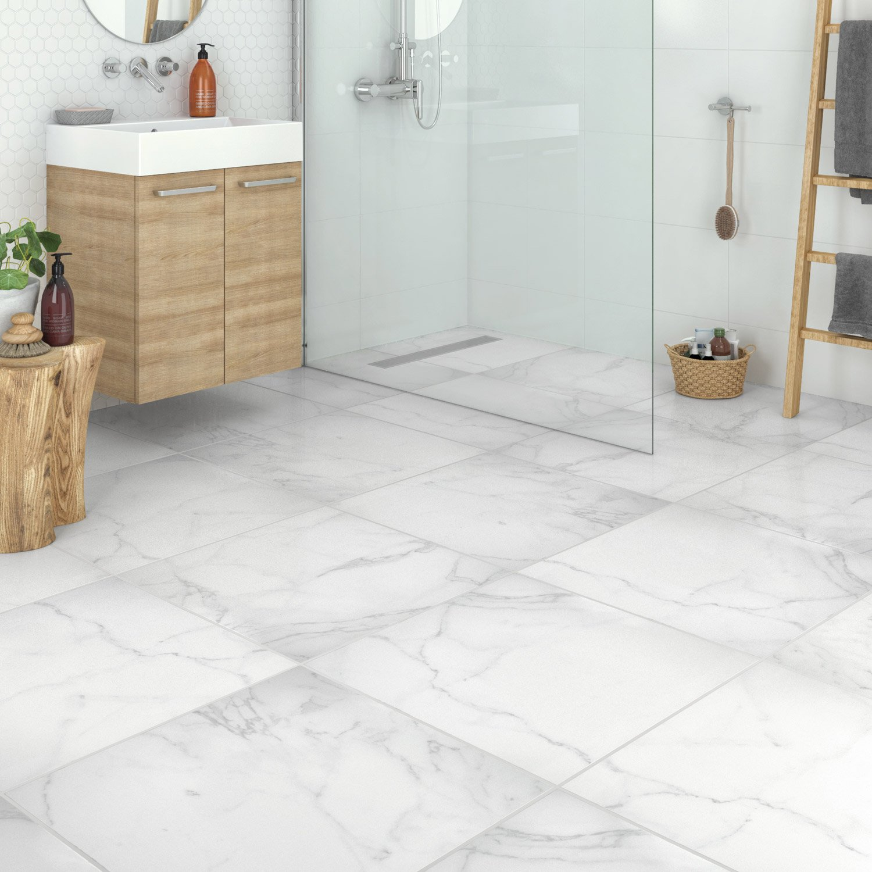 Carrelage Sol Et Mur Blanc Aspect Marbre Firenze L X L Cm - Carrelage marbre
