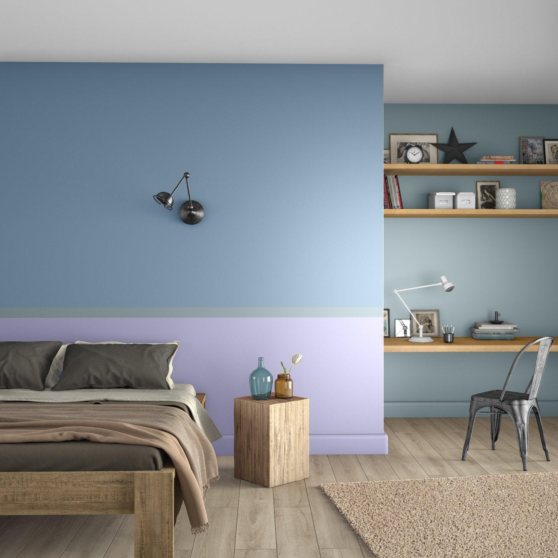 Une chambre d\'adulte bleue et violette | Leroy Merlin