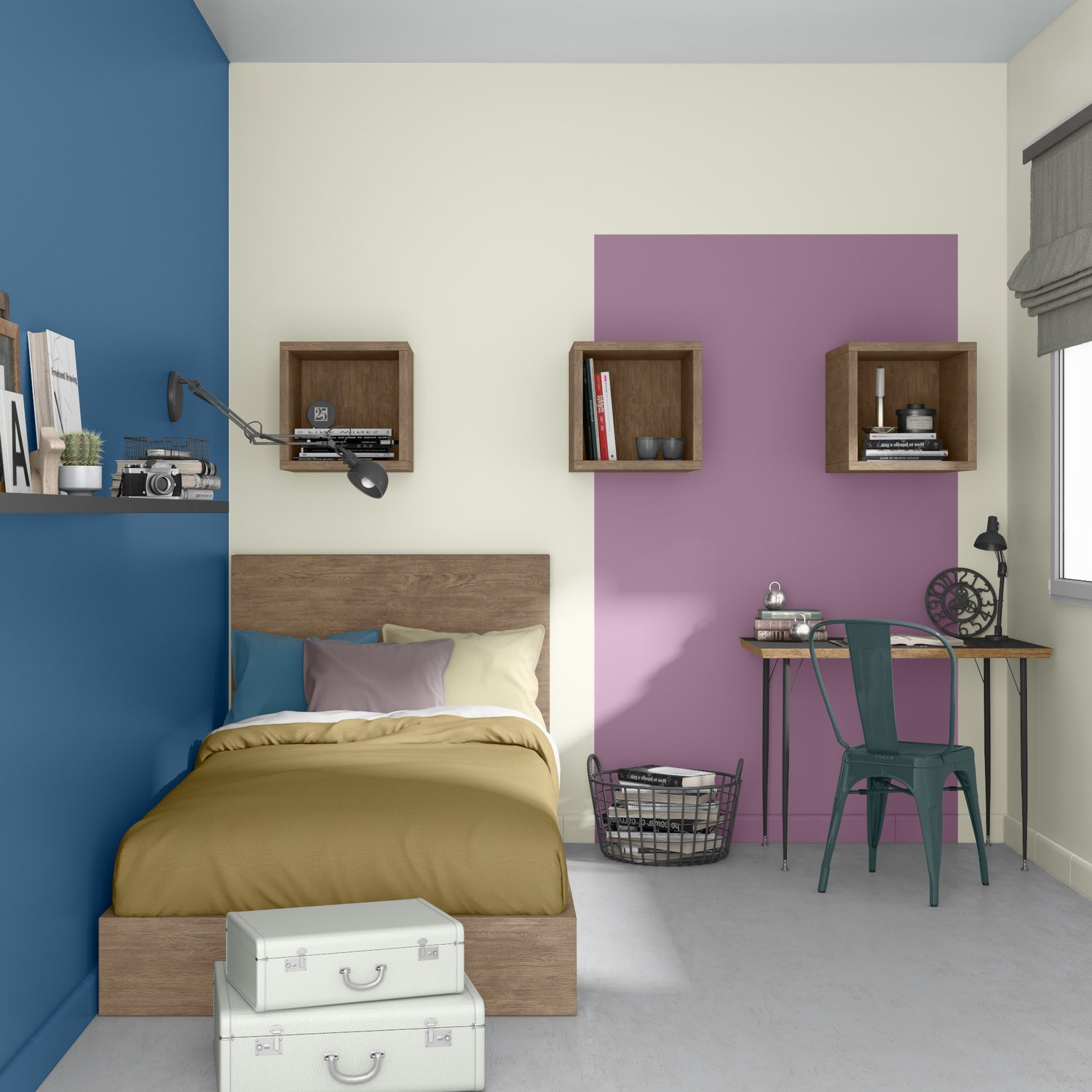 une chambre d 39 ados bleue et violette leroy merlin. Black Bedroom Furniture Sets. Home Design Ideas