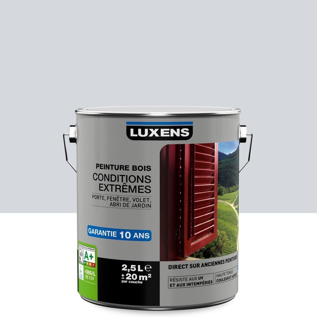 Couleur Peinture Volet Bois peinture bois extérieur conditions extrêmes luxens, gris lumière, 2.5 l