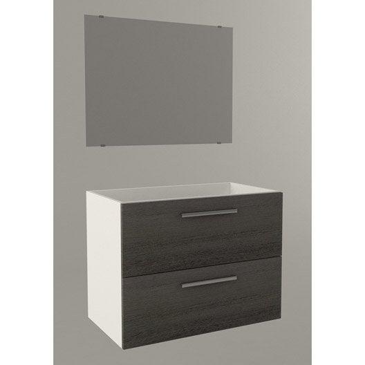 Meuble sous vasque dado 81cm miroir imitation bois gris for Meuble sous vasque bois 60 cm