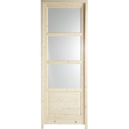 Bloc porte bucarest vitr e poussant gauche 204 x 83 cm Porte interieure vitree 83 cm