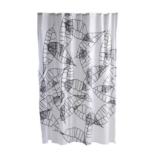 rideau de douche en tissu feuille sensea gris galet n 3 180 x 200 cm leroy merlin. Black Bedroom Furniture Sets. Home Design Ideas