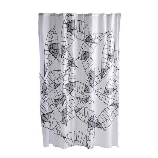 Rideau de douche en tissu feuille sensea gris galet n 3 180 x 200 cm leroy merlin Galet douche leroy merlin