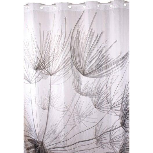 rideau de douche en textile gris x cm flora. Black Bedroom Furniture Sets. Home Design Ideas