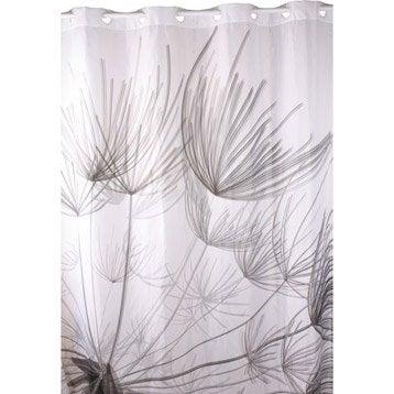 Rideau de douche en textile gris l.180 x H.200 cm, Flora SENSEA