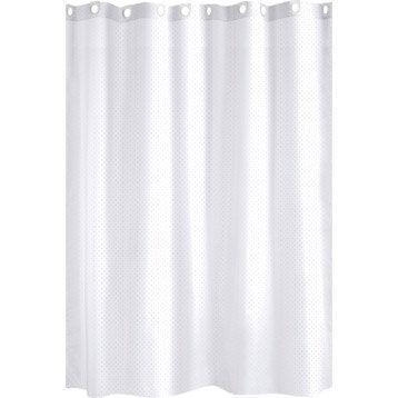 Rideau de douche en textile blanc l.180 x H.200 cm, Glitter SENSEA