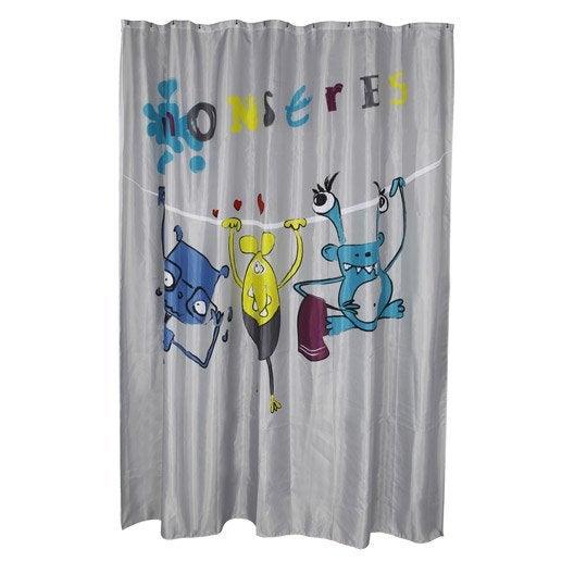 rideau de douche en tissu x cm multicolore monstre sensea leroy merlin. Black Bedroom Furniture Sets. Home Design Ideas