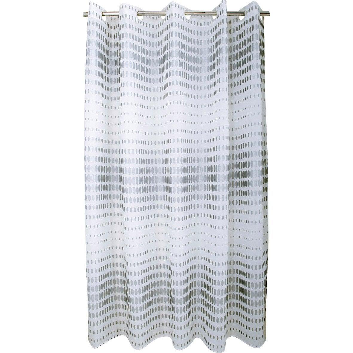 Rideau de douche en textile argent l.180 x H.200 cm, Flash SENSEA ...