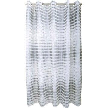 Rideau de douche en textile argent l.180 x H.200 cm, Flash SENSEA