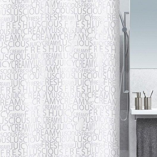 rideau de douche en textile argent x cm creamy sensea leroy merlin. Black Bedroom Furniture Sets. Home Design Ideas