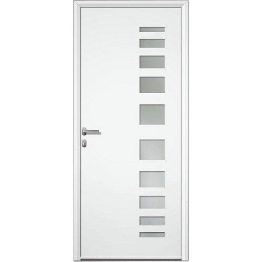 Porte d 39 entr e aluminium portland artens poussant droit x cm - Leroy merlin porte entree alu ...