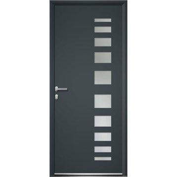 Porte d'entrée aluminium Portland ARTENS poussant droit, H.215 x l.90 cm