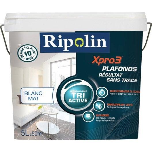 Peinture blanche plafond xpro3 sans traces ripolin mat 5 for Technique peinture plafond sans trace